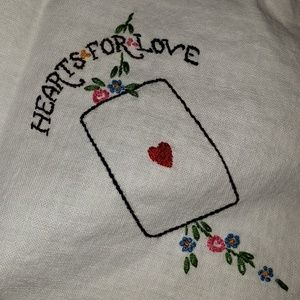 Vintage card table hand embroidered tablecloth